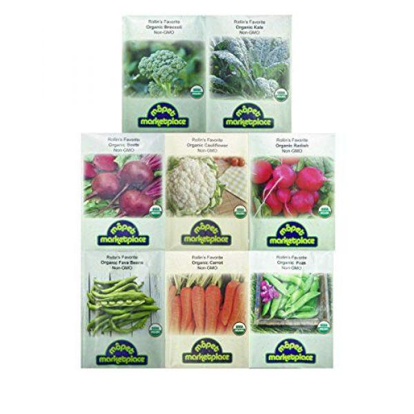 Mopet Marketplace Organic Seed 1 Premium Winter Vegetable Seeds Collection.Certified Organic Non-GMO Heirloom Seeds USDA Lab Tested. Broccoli, Beet, Carrot, Cauliflower, Green Bean, Kale, Pea, Radish. Gardener
