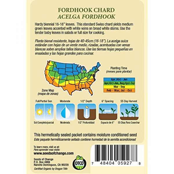 SEEDS OF CHANGE Organic Seed 2 Seeds of Change S22519 Certified Organic Fordhook Giant Chard