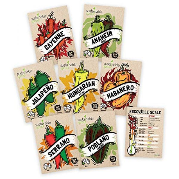 Sustainable Sprout Organic Seed 1 Hot Pepper Seeds Variety Pack - 100% Non GMO Habanero, Jalapeno, Cayenne, Anaheim, Hungarian Hot Wax, Serrano, Poblano. Heirloom Chili Pepper Seeds for Planting in Your Organic Garden