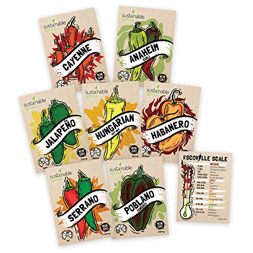 Sustainable Sprout  1 Hot Pepper Seeds Variety Pack - 100% Non GMO Habanero