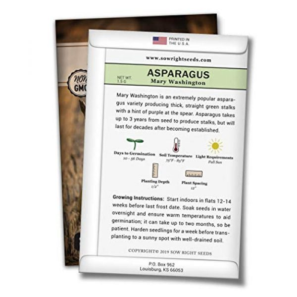 Sow Right Seeds Heirloom Seed 2 Sow Right Seeds - Mary Washington Asparagus Seed for Planting - Non-GMO Heirloom Packet with Instructions to Plant an Outdoor Home Vegetable Garden - Great Gardening Gift (1)
