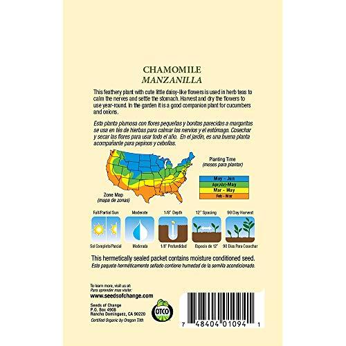 SEEDS OF CHANGE  3 Seeds of Change S10695 Certified Organic German Chamomile