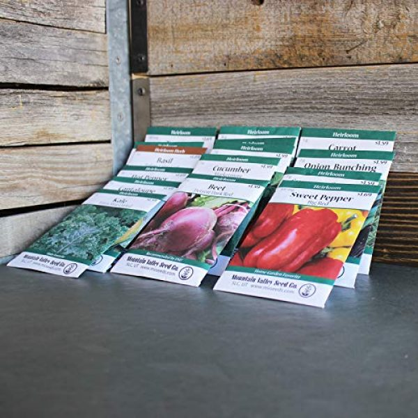 Mountain Valley Seed Company Heirloom Seed 3 Heirloom Vegetable Garden Seed Collection Assortment of 15 Non-GMO, Easy Grow, Gardening Seeds: Carrot, Onion, Tomato, Pea, Cucumber, Beets, Basil, More