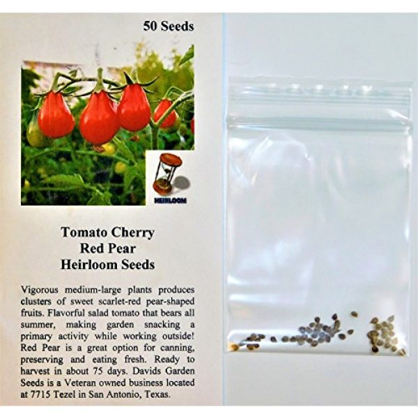 David's Garden Seeds Heirloom Seed 2 David's Garden Seeds Tomato Pear Red 2123 (Red) 50 Non-GMO, Heirloom Seeds