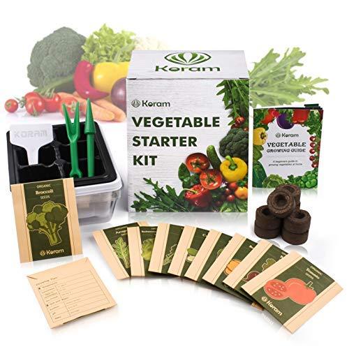 KORAM Organic Seed 1 KORAM Vegetable Garden Starter Kit - 10 Organic Salad Seeds Organic Growing Kit DIY Gardening Starter Set with Everything a Gardener Needs for Growing Tomatoes Broccoli Cucumber for Christmas Gift