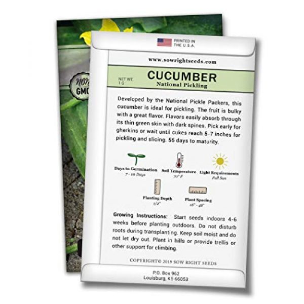 Sow Right Seeds Heirloom Seed 2 Sow Right Seeds - National Pickling Cucumber Seeds for Planting - Non-GMO Heirloom Seeds with Instructions to Plant and Grow a Home Vegetable Garden, Great Gardening Gift (1)