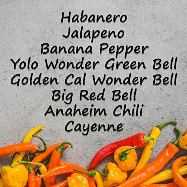 Mountain Valley Seed Company Heirloom Seed 2 8-Pack Non-GMO Heirloom Sweet Pepper Seeds & Hot Pepper Seeds - Anaheim Pepper Seeds, Habanero Seeds, Banana Pepper Seeds, Bell Pepper Seeds, Jalapeno Seeds, Cayenne Pepper Seeds, Green Pepper Seeds