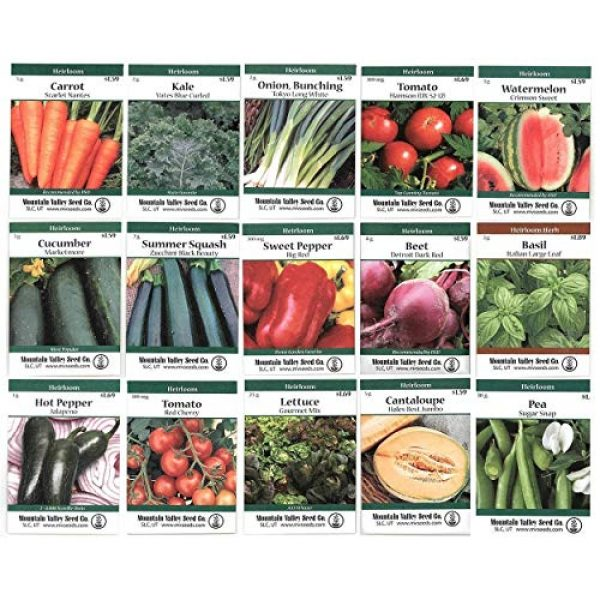 Mountain Valley Seed Company Heirloom Seed 1 Heirloom Vegetable Garden Seed Collection Assortment of 15 Non-GMO, Easy Grow, Gardening Seeds: Carrot, Onion, Tomato, Pea, Cucumber, Beets, Basil, More