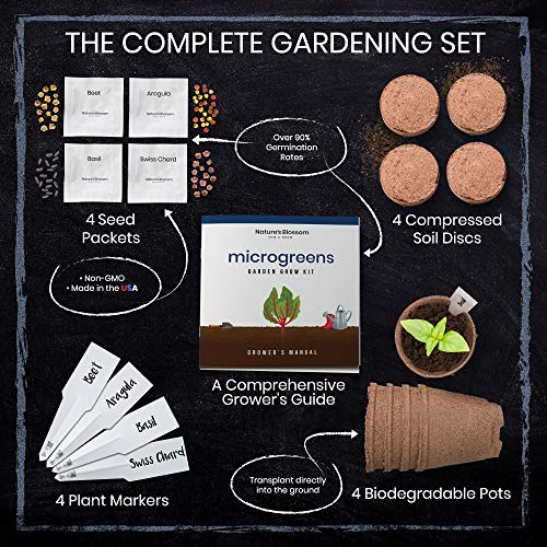 Nature's Blossom Organic Seed 5 Nature's Blossom Microgreen Vegetables Sprouting Kit. Beginner Gardeners Seed Starter Kit to Grow 4 Types of Vegetable Sprouts Indoors. Complete DIY Home Gardening Set