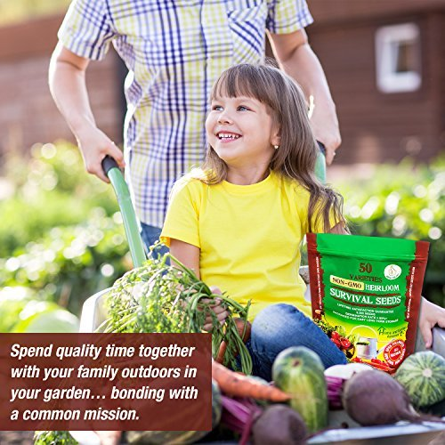 Grow For It  5 Heirloom Vegetable Seeds Non GMO Survival Seed Kit - Part of Our Legacy and Heritage - 50 Varieties 100% Naturally Grown- Best for Gardeners Who Raise Their Own Healthy Food