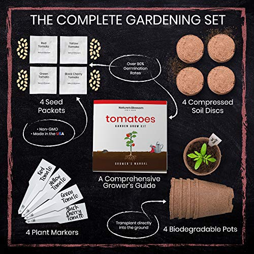 Nature's Blossom Organic Seed 3 Nature's Blossom Tomato Garden Kit. Grow 4 Types of Tomatoes from Seed. Gardening Starter Set For Growing Unusual Tomatoes; Sweet Red Tomato, Black Cherry, Yellow Pear Tomato and Green Zebra Tomatoes.