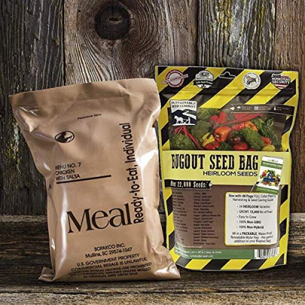 Sustainable Seed Company Heirloom Seed 5 22,000 Non GMO Heirloom Vegetable Seeds, Survival Garden, Emergency Seed Vault, 34 VAR, Bug Out Bag - Beet, Broccoli, Carrot, Corn, Basil, Pumpkin, Radish, Tomato, More