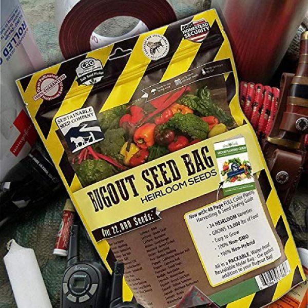 Sustainable Seed Company Heirloom Seed 4 22,000 Non GMO Heirloom Vegetable Seeds, Survival Garden, Emergency Seed Vault, 34 VAR, Bug Out Bag - Beet, Broccoli, Carrot, Corn, Basil, Pumpkin, Radish, Tomato, More
