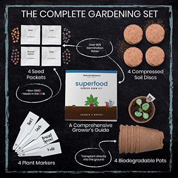 Nature's Blossom Organic Seed 3 Grow 4 of The Healthiest Vegetables from Seed - Brussel Sprouts, Kale, Beets & Leeks. Superfood Sprout Kit W/Soil, Organic Planters. Outdoor Garden Gift for Beginner Gardeners, Vegans, Vegetarians