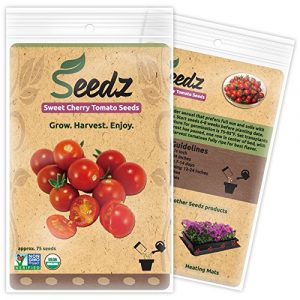 Seedz Organic Seed 1 Organic Tomato Seeds, APPR. 75, Sweet Cherry Tomato, Vegetable Seeds, Certified Organic, Non GMO, Non Hybrid, USA