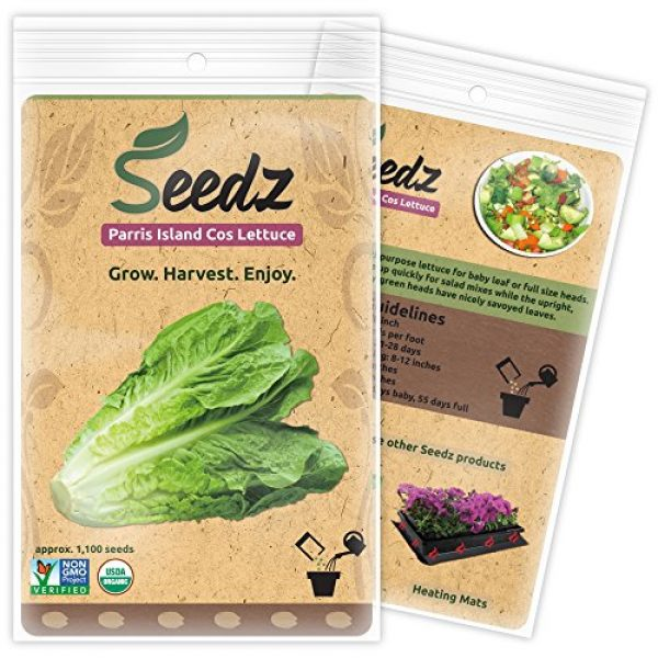 Seedz Organic Seed 3 Organic Lettuce Seeds, APPR. 1,100, Parris Island Romaine Lettuce, Heirloom Vegetable Seeds, Certified Organic, Non GMO, Non Hybrid, USA