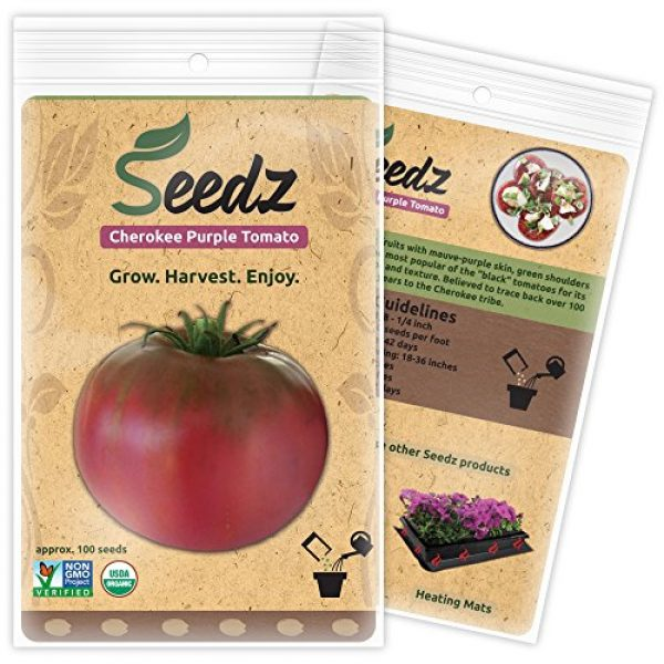 Seedz Organic Seed 1 Organic Tomato Seeds, APPR. 100, Cherokee Purple Beefsteak Tomato, Heirloom Vegetable Seeds, Certified Organic, Non GMO, Non Hybrid, USA