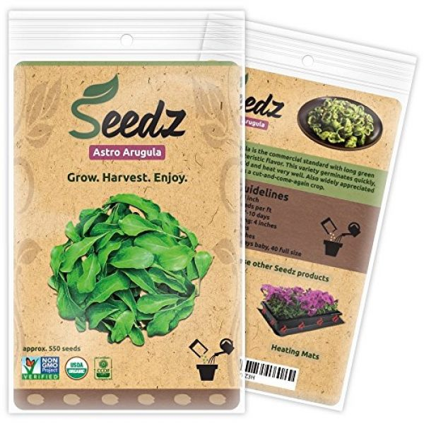 Seedz Organic Seed 1 Organic ARUGULA Seeds (APPR. 550) Astro Arugula - Heirloom Vegetable Seeds - Certified Organic, Non-GMO, Non Hybrid - USA